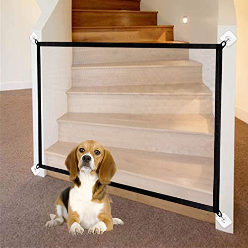43in Magic Gate for Dogs Hooks Install Pet Gate Safety Guard Gate for Stairs Kitchen Doorways Enclosure Pets Isolation…