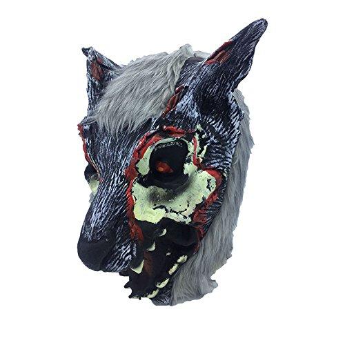 Da.Wa Cos Animal Mask, Halloween Masquerade Performance Wolf Styling Wig(1 ()