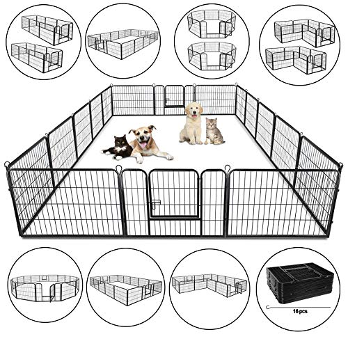 ZENY 31 W x 24 H Foldable Metal Exercise Pen Pet Playpen Puppy Cat Exercise Fence Barrier Playpen Kennel – 16 Panels