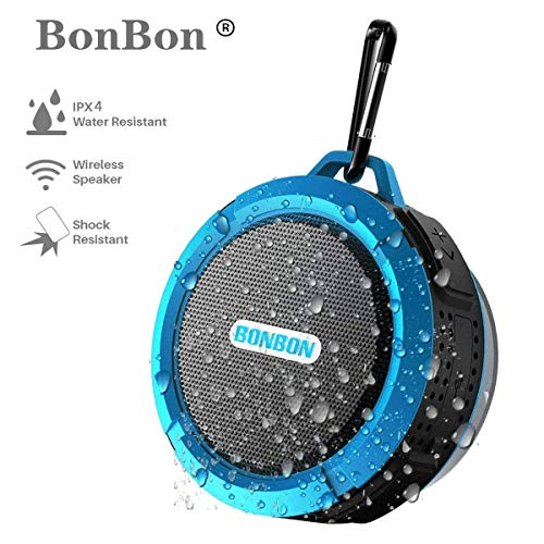 Waterproof Bluetooth Shower Speaker, BoNBoN Water Resistant Handsfree Portable Wireless Shower Speaker,Build-in Microphone, Solid Suction Cup, 6 hrs Play Time(Blue)
