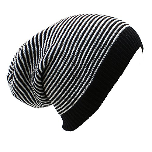 White Striped Beanie (AN Long Beanie Hat Black & White Striped Lightweight Soft Knit Cap)
