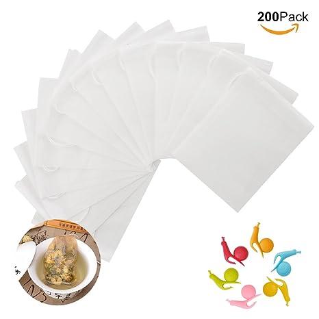 Ionlyou té bolsas de filtro, Lot de 200pcs desechables para bolsas de té con 6pcs caracol en forma de soporte para bolsas de té de silicona infusor de ...