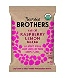 Bearded Brothers Vegan Organic Food Bar | Gluten Free, Paleo and Whole 30 | Soy Free, Non GMO, Low Glycemic, No Sugar Added, Packed with Protein, Fiber + Whole Foods | Raspberry Lemon | 12 Pack