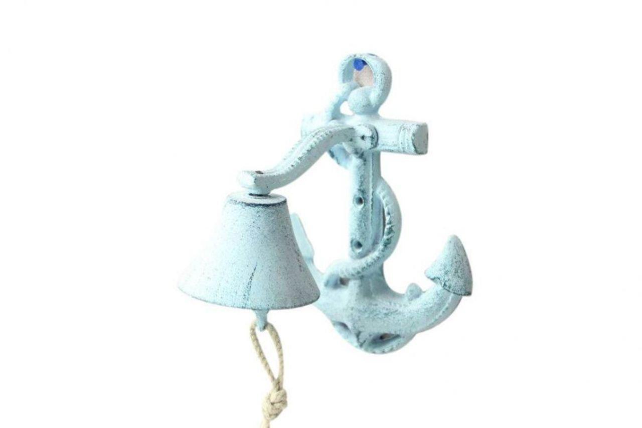 8 Hampton Nautical Cast Iron Wall Mounted Anchor Bell Dark Blue//Whitewashed