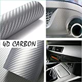 "DIYAH 4D Silver Carbon Fiber Vinyl Wrap Sticker with Air Realease Bubble Free anti-wrinkle 12"" X 60"" ( 1FT X 5FT)"