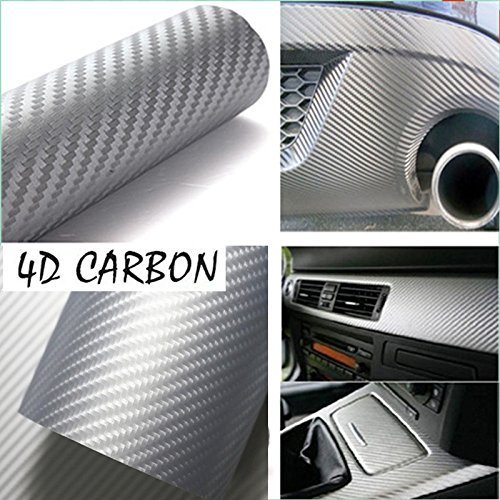 DIYAH 4D Silver Carbon Fiber Vinyl Wrap Sticker with Air Realease Bubble Free Anti-Wrinkle 12