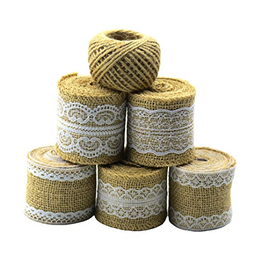 (Aokbean 11 Yards/394 Inch Rustic Wedding Favor Jute Burlap Rolls Ribbon with White Lace Trims Tape Ribbon and 98 Feet Jute)