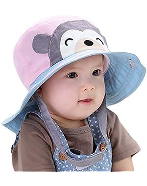 Unisex Baby Toddler Sun Hat Monkey Cotton Wide Brim Cap Bucket Hat