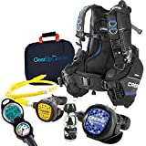 Cressi Aquaride Blue Pro BCD Scuba Gear Package w/ MC9 Compact Regulator & Octo Leonardo C2 Dive Computer w/GupG Reg Bag