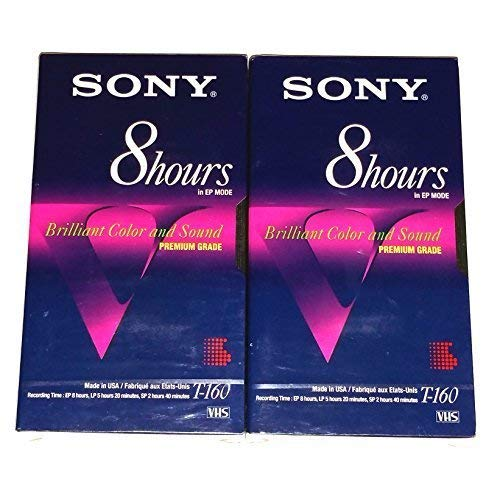 Sony Premium Grade T-160 Eight 8 Hour EP Mode Brilliant Color and Sound VHS Video Tapes - 2 Pack by Sony