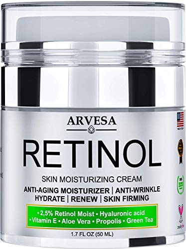 NEW 2020 Retinol Moisturizer Cream for Face and Eye Area - Made in USA - with Hyaluronic Acid - Active Retinol 2.5% - Anti Aging Face Cream to Reduce Wrinkles & Fine Lines - Best Day and Night (Best Under Eye Cream For Mens Dark Circles 2019)