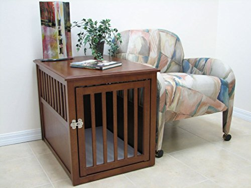 Crown Pet Products Pet Crate Wood Dog Crate Furniture End Table, Medium Size with Mahogany Finish - Lacquered Coffee Finish