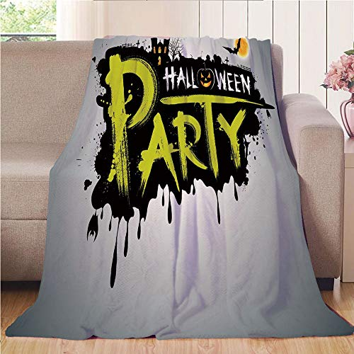 Throw Blanket Super soft and Cozy Fleece Blanket Perfect for Couch Sofa or bed,Halloween,Halloween Party Hand Drawn Brushstrokes Artistic Design Grunge Cartoon,Yellow White Black,47.25