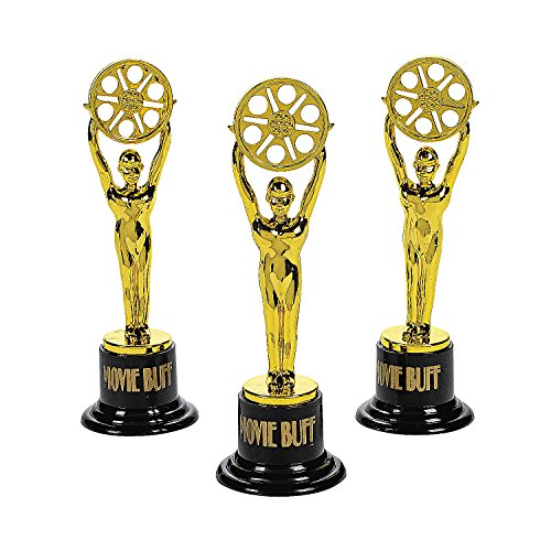 Fun Express 12 Movie Buff Gold Statues for Hollywood Movie Awards Parties Decoration]()