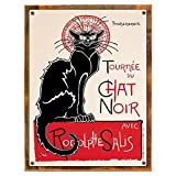 Wood-Framed Theophile-Alexandre Steinlen – Tournee Du Chat Noir Tin Sign for kitchen on reclaimed, rustic wood