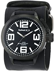 Nemesis Mens HST040W Oversized Collection White/Black on Embossed Black Watch