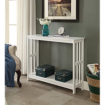 White Finish 2 Tier Occasional Console Sofa Table Bookshelf