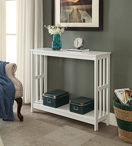 White Finish 2-Tier Occasional Console Sofa Table Bookshelf (Sofa Table Book Shelf)