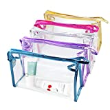 Meetory 5 Pcs Transparent Waterproof Cosmetic Bag,PVC Vinyl Zippered Wash Bag Vacation, Bathroom and Organizing Bag Travel Set