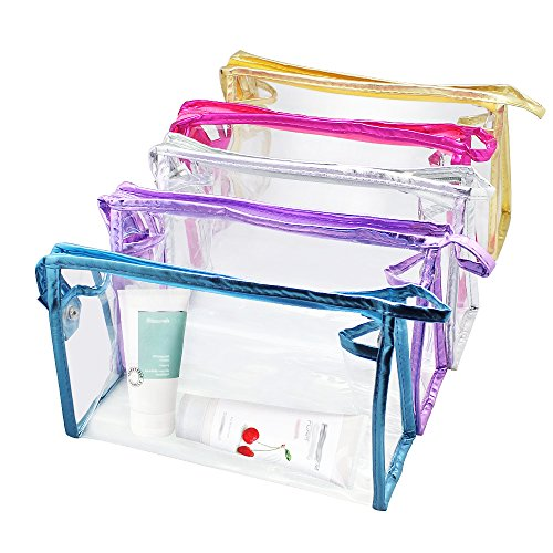 Meetory 5 Pcs Transparent Waterproof Cosmetic Bag,PVC Vinyl Zippered Wash Bag Vacation, Bathroom and Organizing Bag Travel Set ()