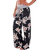 Artfish Women's Loose Baggy Yoga Long Pants Floral Printed Trousers (S, Black)#4