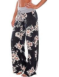 Women's Loose Baggy Yoga Long Pants Floral Printed Trousers