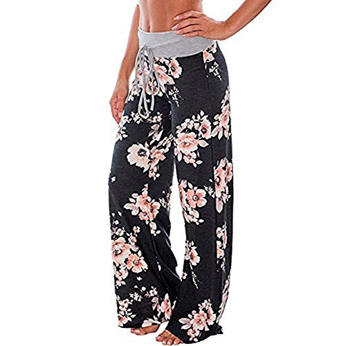 Artfish Women's Loose Baggy Yoga Long Pants Floral Printed Trousers (L, Black) #4