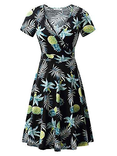 MSBASIC Plus Floral Dress Knee Length Spring Dresses for Women Pineapple & Leaf ()