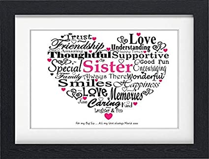 PERSONALISED SISTER BIRTHDAY PRESENT TYPOGRAPHY WORD PRINT FRAMED Amazoncouk Kitchen Home