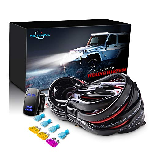 MICTUNING LED Light Bar Wiring Harness - 40Amp Relay Fuse BLUE ON-OFF Rocker Switch (REAR LIGHTS)