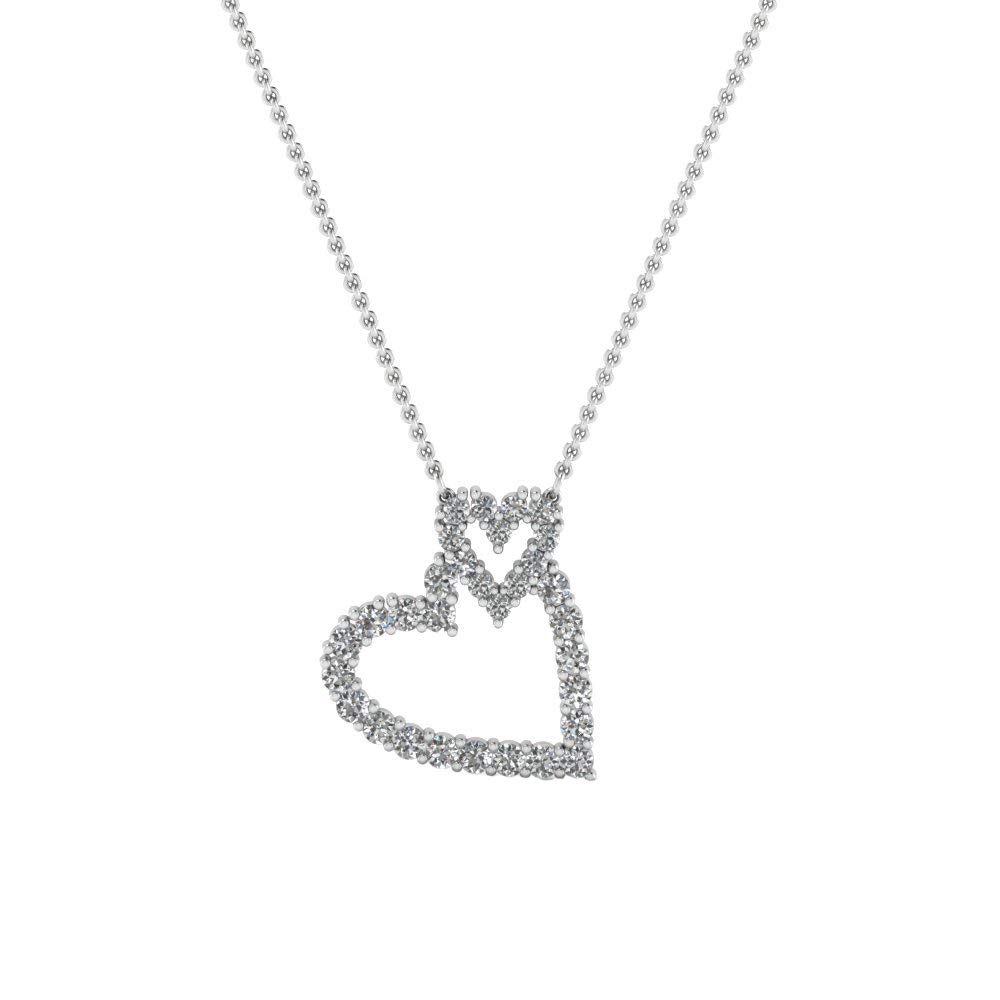 Ringjewels Double Heart Pendant with 18 Chain 0.25 Ct Round Cut Sim Diamond in 14K Gold Plated Silver