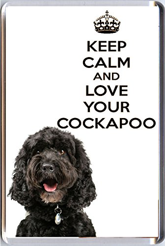 A fridge magnet with a picture of a Black Cockapoo puppy dog with the words KEEP CALM AND LOVE YOUR COCKAPOO from our KEEP CALM and CARRY ON range. A unique Birthday or Christmas stocking filler gift idea for a dog lover!