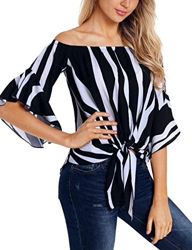 RSM &CHENG Women's Striped Off Shoulder Bell Sleeve Shirt Tie Knot Casual Blouses Tops(Stripe Black,S)