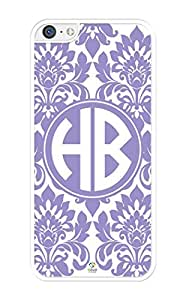 iZERCASE Monogram Personalized Violet Tulip Pattern iPhone 5C Case - Fits iPhone 5C T-Mobile, AT&T, Sprint, Verizon and International (White)