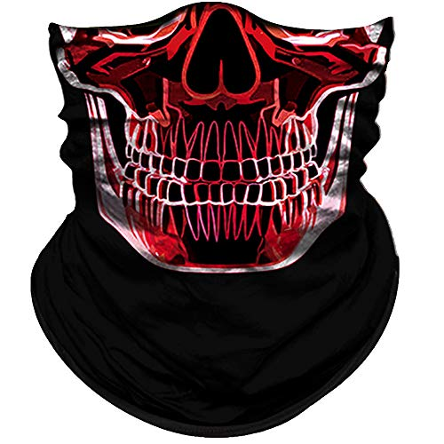 Obacle Skull Face Mask Half for Dust Wind UV Sun Protection Seamless 3D Tube Mask Bandana for Men Women Durable Thin Breathable Skeleton Mask Motorcycle Riding Biker Fishing Cycling Sports Festival (Red Skull Mask)