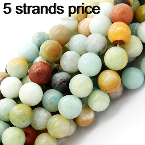 gemstone beads for jewelry making, sold per bag 5 strands inside (Mix-color Amazonite, 10mm)