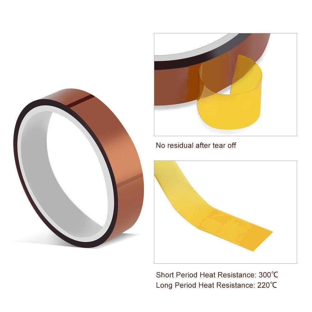 Soply 2 Rolls High Temperature Heat Resistant Tape Sublimation Dye Mug Electronic Polyimide Tape 10mm