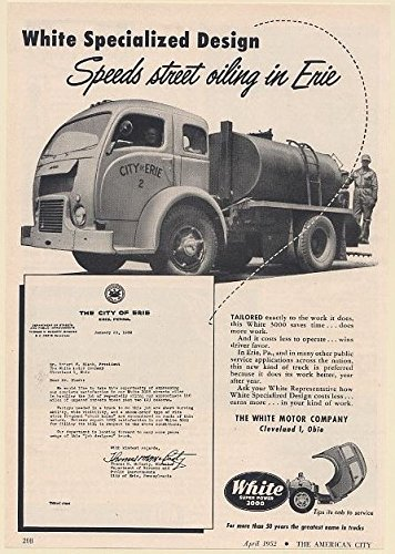1952 Erie Pa White 3000 Street Oiling Truck Print Ad 67683