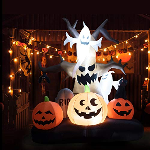 Halloween Pumpkin Carriage Inflatable (Tangkula 10' Halloween Inflatable Dead Tree, LED Lighted Yard Decor, Spooky Lawn Inflatables, Giant Halloween Prop Decoration, w/Ghost on Top, Pumpkins Tombstone on)