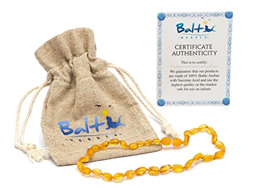 Price comparison product image Raw Baltic Amber Teething Necklaces For Babies (Unisex) (Honey Olive) - Anti Flammatory, Drooling & Teething Pain Reduce Properties - Natural Certificated with the Highest Quality Guaranteed.