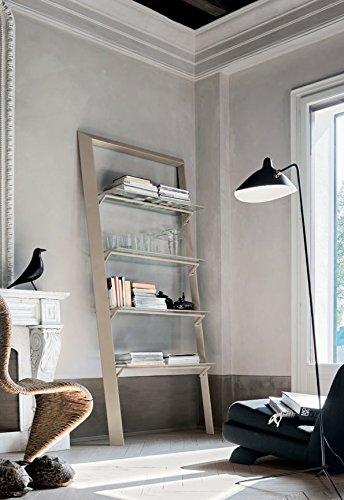 Book Libreria con mensole in vetro design soggiorno sala - Bianco cm ...