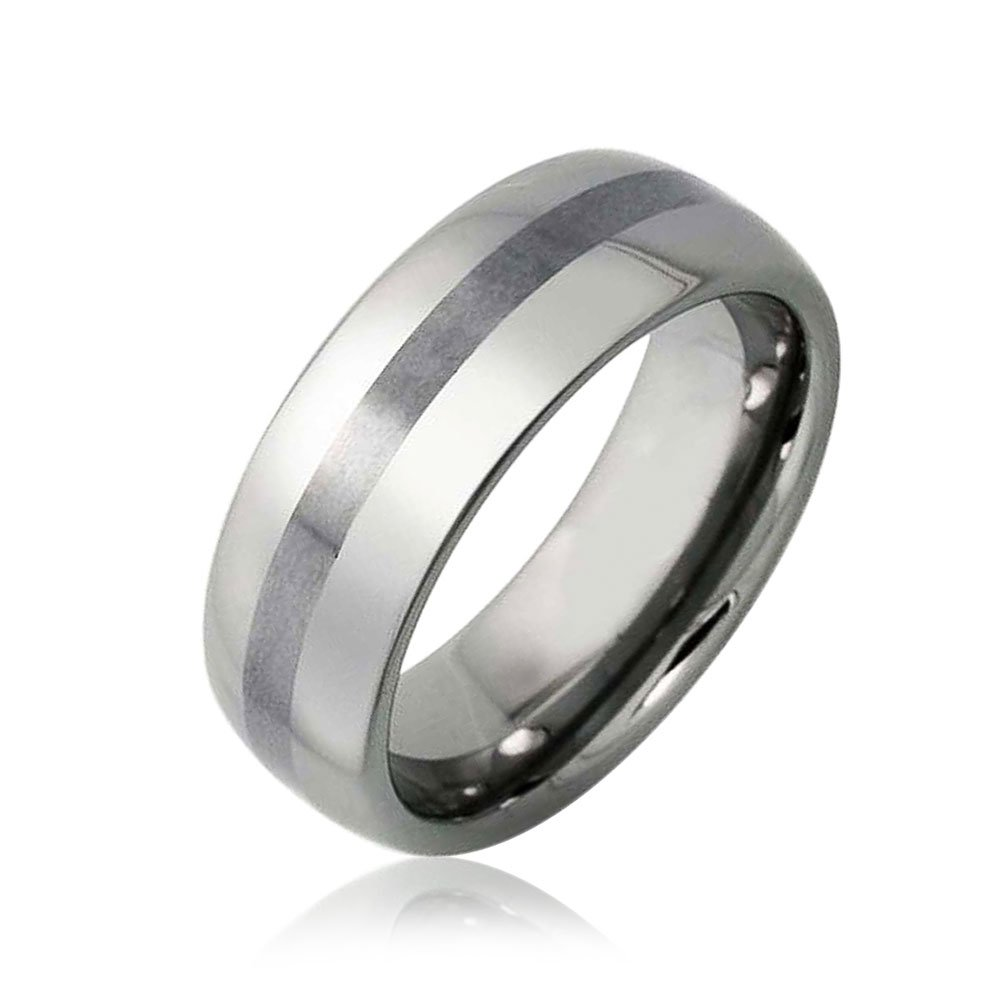 Bling Jewelry Banda mate Unisex Anillo de Bodas de tungsteno banda 8mm: Amazon.es: Joyería