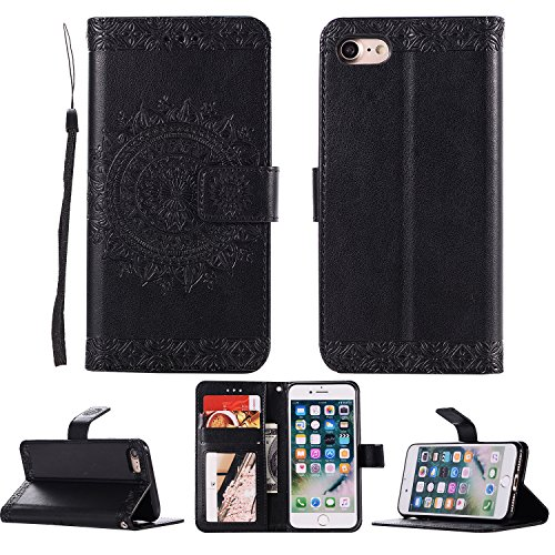 DAMONDY iPhone 6 Plus Case,iPhone 6s Plus Case, Embossed Totem Flowers Stand Wallet Purse Card ID Holders Design Flip Cover TPU Soft Bumper PU Leather Magnetic for iPhone 6 Plus/6s Plus-Black (Iphone 4g Flowers)