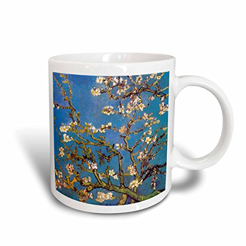 Photograph 1890 - 3dRose Almond Blossoms by Vincent Van Gogh 1890, White Flower Branches on Blue, Ceramic Mug, 15-Oz