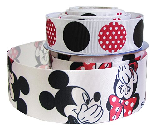 "HipGirl Grosgrain Ribbon Collection Value Pack(8yd 7/8""-1.5"" Disney Mickey Mouse Grosgrain Satin Fabric Ribbon For Gift Wrapping, Hair Bow Clip Making, Crafts, Sewing, Boy Girl Baby Shower)"