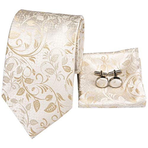 - Hi-Tie Men White Gold Paisley Floral Tie Necktie with Cufflinks and Pocket Square Tie Set