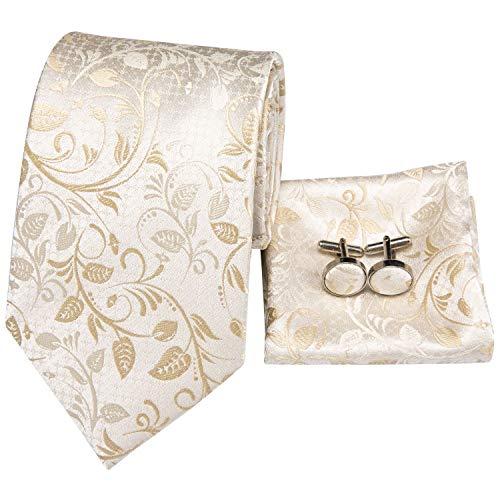 Hi-Tie Men White Gold Paisley Floral Tie Necktie with Cufflinks and Pocket Square Tie ()