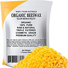 Organic Yellow Beeswax Pellets 1 lb by Mary Tylor Naturals, Premium Quality, Cosmetic Grade, Triple Filtered Organic Bees Wax Pellets, Great for DIY Lip Balm Recipes Body Creams Lotions Deodorants