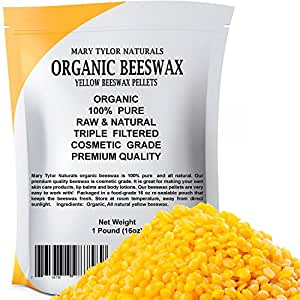 Organic Yellow Beeswax Pellets 1 lb, Premium Quality, Cosmetic Grade, Triple Filtered Organic BeesWax Pellets, Great for DIY Lip Balm Recipes Body Creams Lotions Deodorants By Mary Tylor Naturals