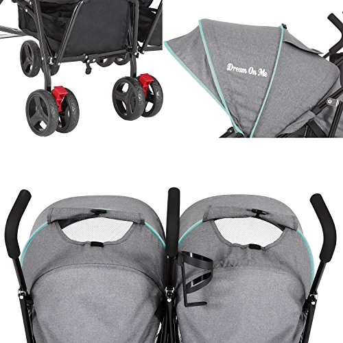 51PKw11XY%2BL - Dream On Me Volgo Twin Umbrella Stroller, Mint/Dark Grey